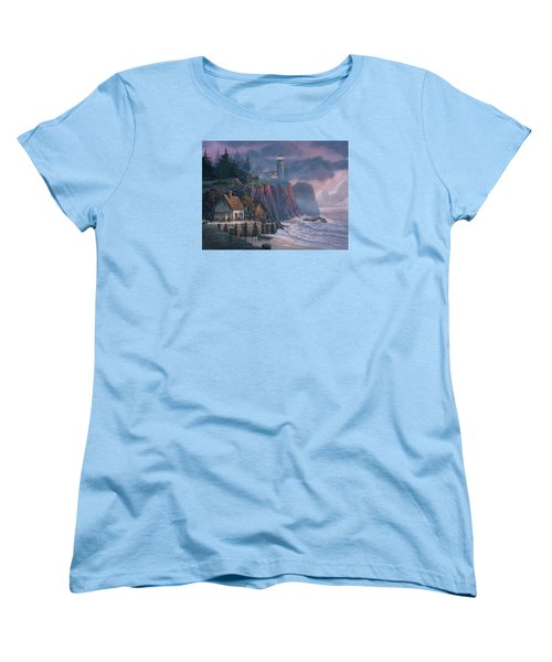 Women's T-Shirt (Standard Cut) featuring the painting Harbor Light Hideaway by Michael Humphries