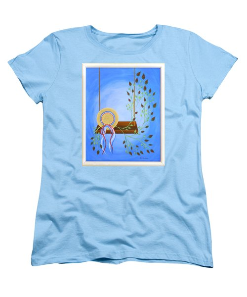 Women's T-Shirt (Standard Cut) featuring the painting Hat On A Swing by Ron Davidson