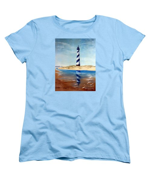 Women's T-Shirt (Standard Cut) featuring the painting Hatteras Lighthouse by Lee Piper