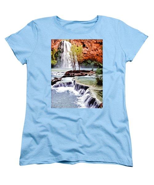 Havasau Falls Painting Women's T-Shirt (Standard Cut) by Bob and Nadine Johnston