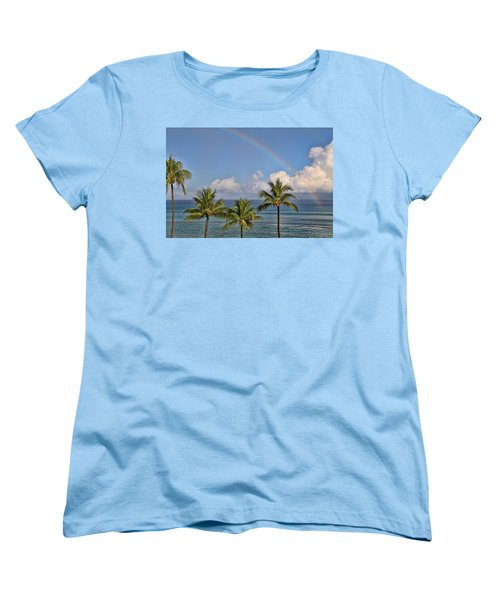 Women's T-Shirt (Standard Cut) featuring the photograph Hawaii Rainbow by Peggy Collins