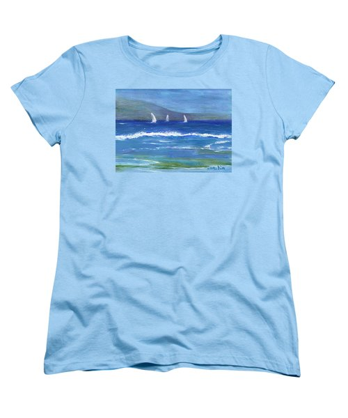 Women's T-Shirt (Standard Cut) featuring the painting Hawaiian Sail by Jamie Frier