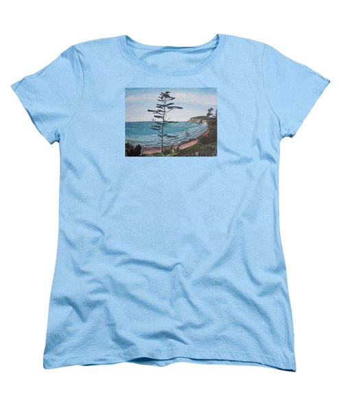 Women's T-Shirt (Standard Cut) featuring the painting Hay Stack Rock From The South On The Oregon Coast by Ian Donley