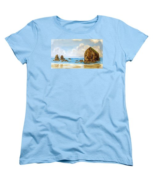 Women's T-Shirt (Standard Cut) featuring the relief Haystack Relief by Wendy McKennon
