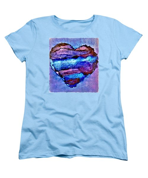 Women's T-Shirt (Standard Cut) featuring the painting Heart Love Music Alcohol Inks  by Danielle  Parent