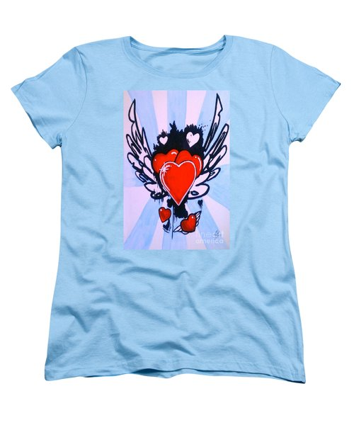 Women's T-Shirt (Standard Cut) featuring the painting Hearts by Marisela Mungia