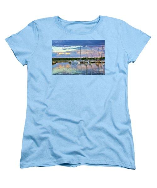 Women's T-Shirt (Standard Cut) featuring the photograph Hecla Island Boats II by Teresa Zieba