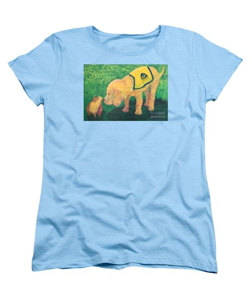 Women's T-Shirt (Standard Cut) featuring the painting Hello - Cci Puppy Series by Donald J Ryker III