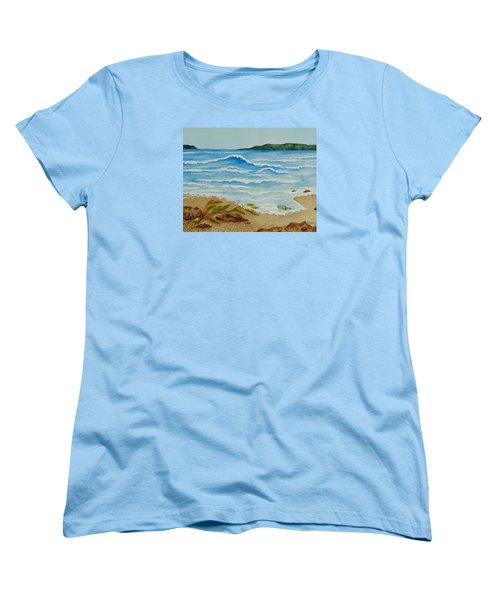 Women's T-Shirt (Standard Cut) featuring the painting Hello? by Katherine Young-Beck