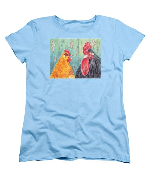Women's T-Shirt (Standard Cut) featuring the drawing Henpecked by Arlene Crafton
