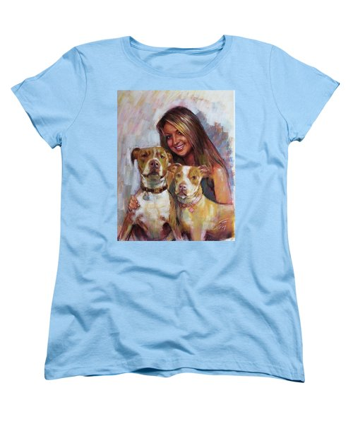 Women's T-Shirt (Standard Cut) featuring the drawing Her Best Friends by Viola El