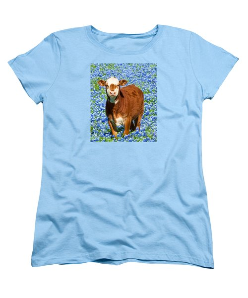 Women's T-Shirt (Standard Cut) featuring the photograph Heres Looking At You Kid - Calf With Bluebonnets In Texas by David Perry Lawrence