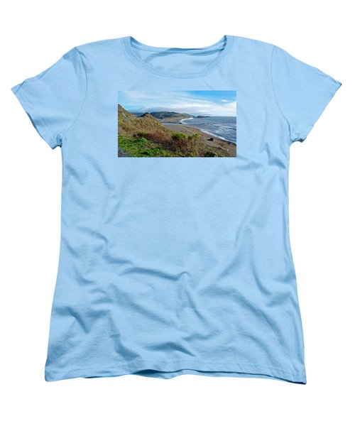 Highway 1 Near Outlet Of Russian River Into Pacific Ocean Near Jenner-ca  Women's T-Shirt (Standard Cut) by Ruth Hager