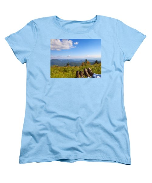 Hikers With A View On Round Bald Near Roan Mountain Women's T-Shirt (Standard Cut) by Melinda Fawver