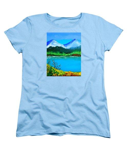 Hills By The Lake Women's T-Shirt (Standard Cut) by Cyril Maza