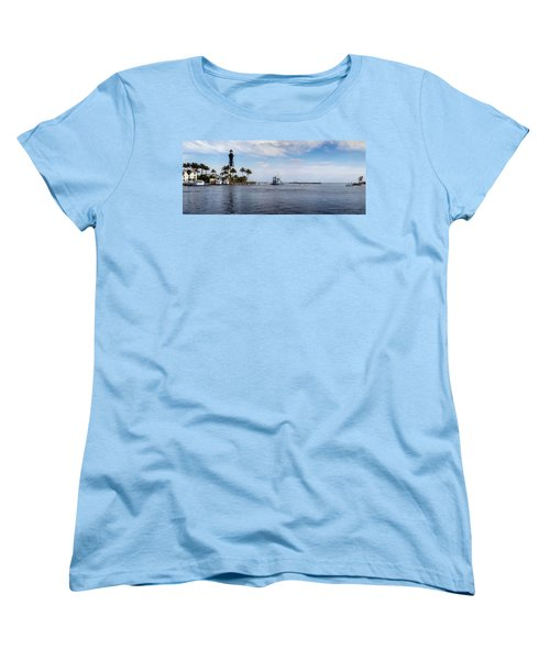 Hillsboro Inlet Lighthouse Panorama Women's T-Shirt (Standard Cut) by Lynn Palmer