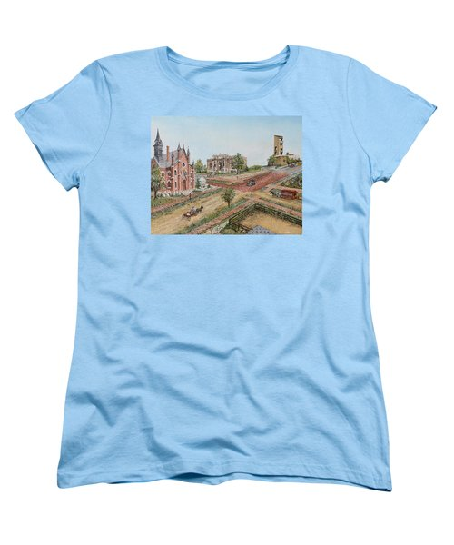 Women's T-Shirt (Standard Cut) featuring the painting Historic Street - Lawrence Kansas by Mary Ellen Anderson