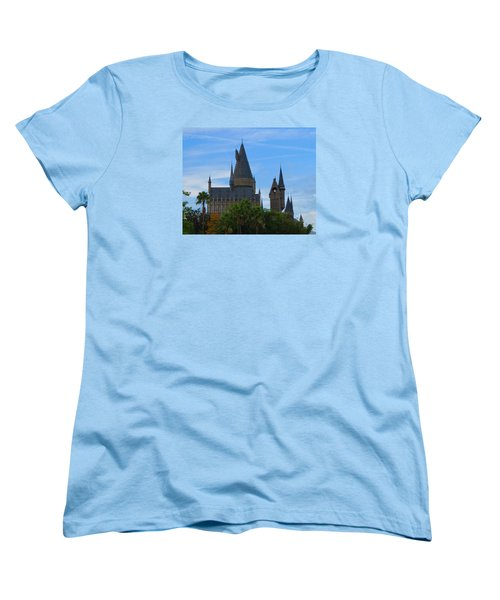 Hogwarts Castle With Towers Women's T-Shirt (Standard Cut) by Kathy Long