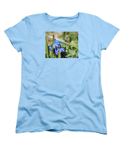 Honeybee In Flight Women's T-Shirt (Standard Cut) by Lucinda VanVleck