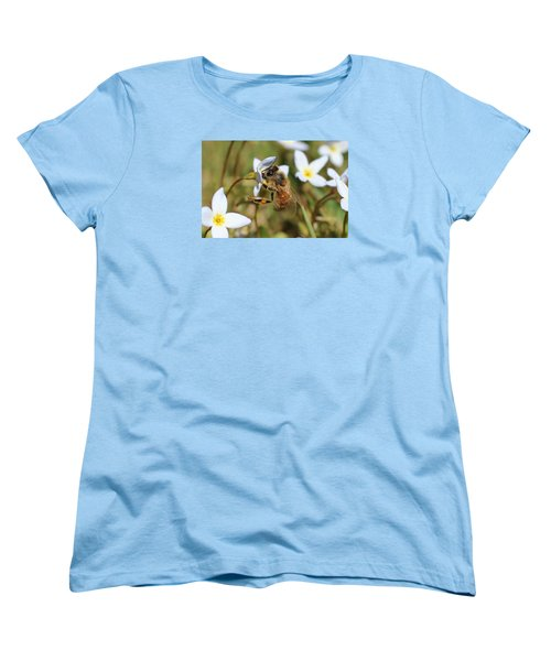 Honeybee On Bluet Women's T-Shirt (Standard Cut) by Lucinda VanVleck