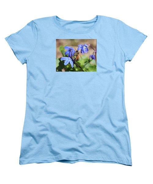 Honeybee On Siberian Squill Women's T-Shirt (Standard Cut) by Lucinda VanVleck