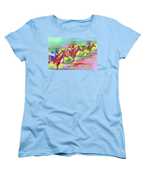 Horse Race  Three Women's T-Shirt (Standard Cut) by Mary Armstrong