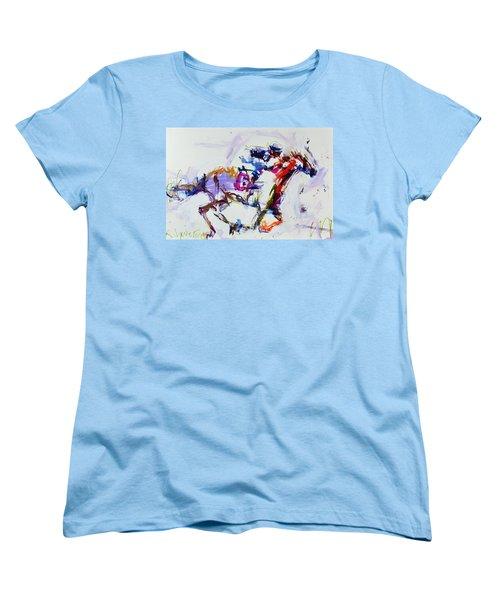 Horse Racing Print Women's T-Shirt (Standard Cut) by Robert Joyner