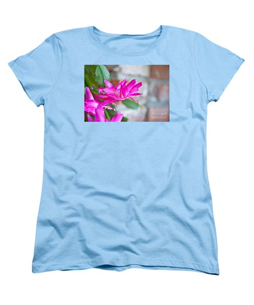 Hot Pink Christmas Cactus Flower Art Prints Women's T-Shirt (Standard Cut) by Valerie Garner