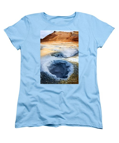 Women's T-Shirt (Standard Cut) featuring the photograph Hot Springs At Namaskard In Iceland by Peta Thames
