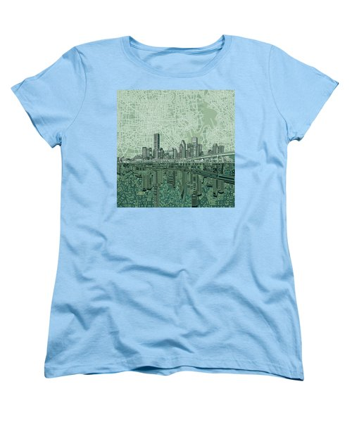 Houston Skyline Abstract 2 Women's T-Shirt (Standard Cut) by Bekim Art