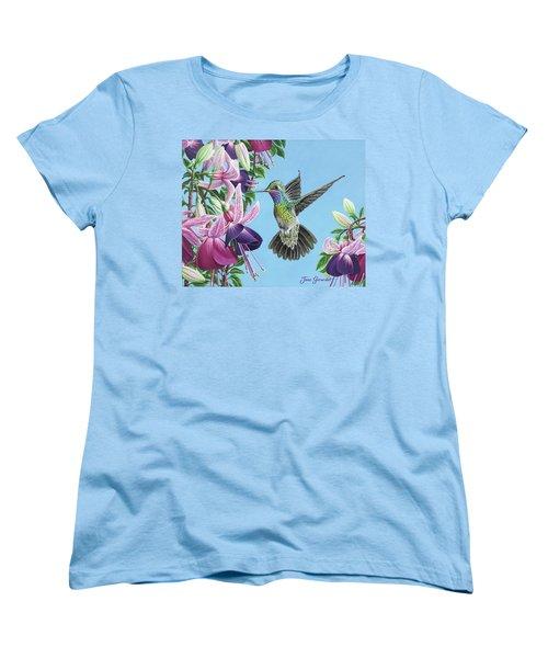 Hummingbird And Fuchsias Women's T-Shirt (Standard Cut)