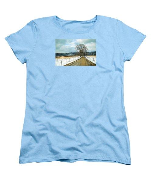 Hyatt Lane In Snow Women's T-Shirt (Standard Cut) by Debbie Green