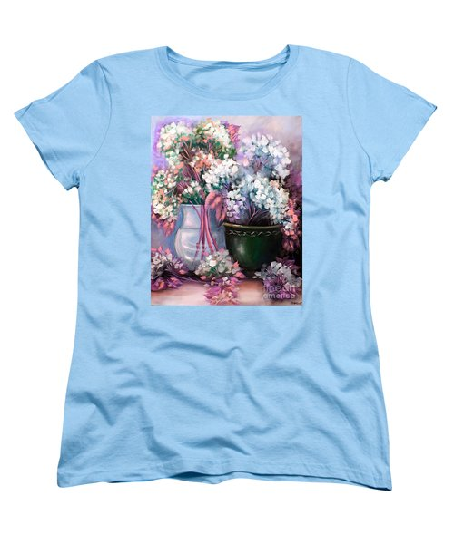 Women's T-Shirt (Standard Cut) featuring the painting Hydrangeas Still Life Pink by Patrice Torrillo