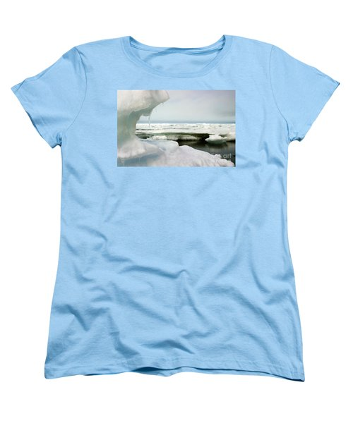 Women's T-Shirt (Standard Cut) featuring the photograph Ice Barrow Alaska July 1969 By Mr. Pat Hathaway by California Views Mr Pat Hathaway Archives