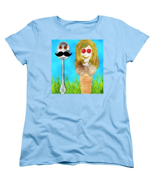 Women's T-Shirt (Standard Cut) featuring the digital art Ice Cream Couple by Ally  White
