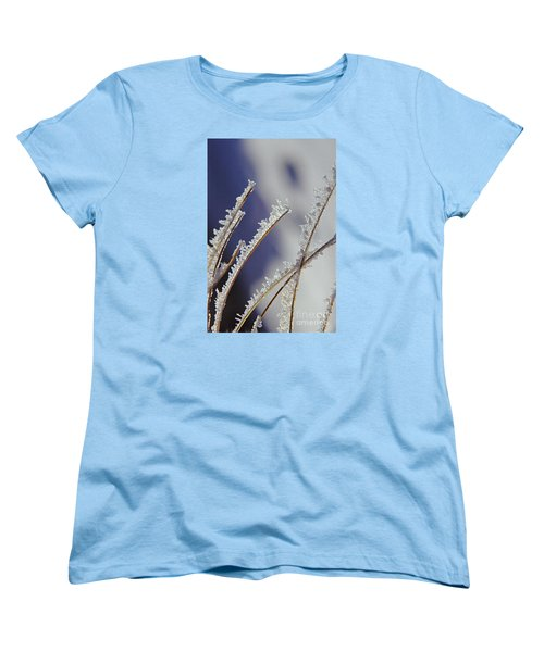 Women's T-Shirt (Standard Cut) featuring the photograph Ice Crystals On Fireweed Fairbanks  Alaska By Pat Hathaway 1969 by California Views Mr Pat Hathaway Archives
