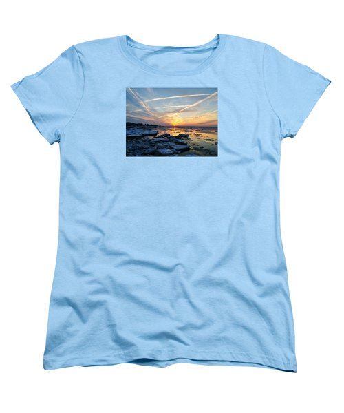 Ice On The Delaware River Women's T-Shirt (Standard Cut) by Ed Sweeney