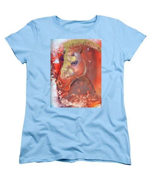 Women's T-Shirt (Standard Cut) featuring the painting Iconic Horse Head by Joan Hartenstein