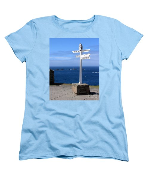 Women's T-Shirt (Standard Cut) featuring the photograph Iconic Lands End England by Terri Waters