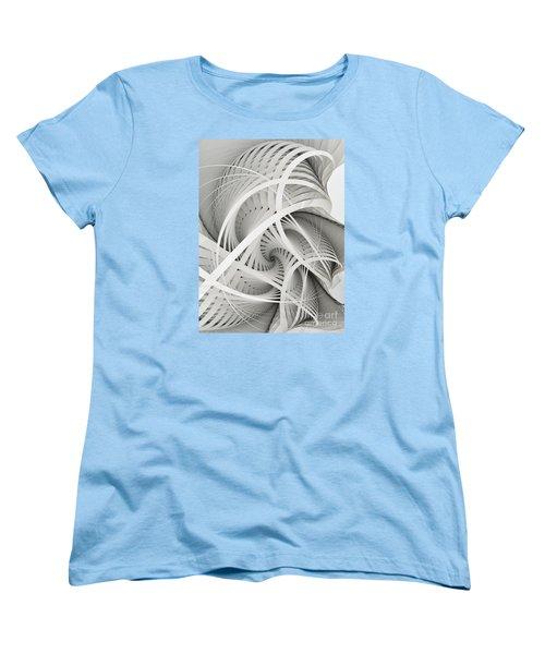 In Betweens-white Fractal Spiral Women's T-Shirt (Standard Cut) by Karin Kuhlmann