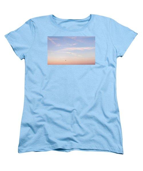 Women's T-Shirt (Standard Cut) featuring the photograph In Flight Over Rehoboth Bay by Pamela Hyde Wilson