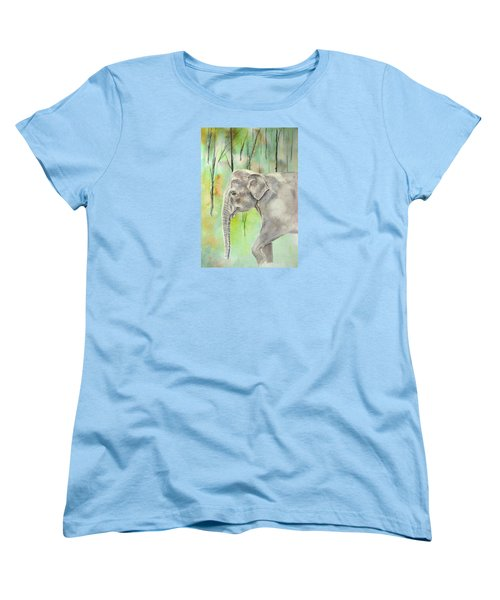 Women's T-Shirt (Standard Cut) featuring the painting Indian Elephant by Elizabeth Lock