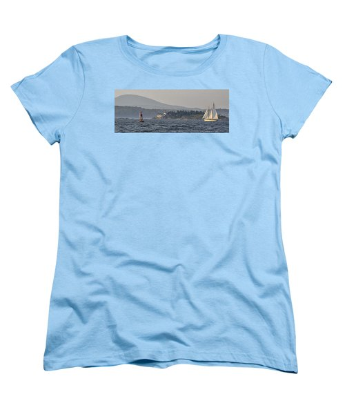 Women's T-Shirt (Standard Cut) featuring the photograph Indian Island Lighthouse - Rockport - Maine by Marty Saccone
