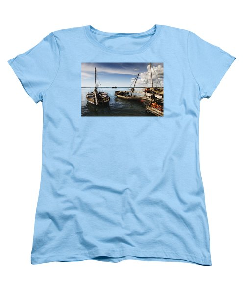 Women's T-Shirt (Standard Cut) featuring the photograph Indian Ocean Dhow At Stone Town Port by Amyn Nasser