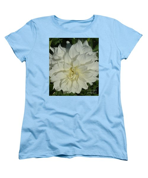 Women's T-Shirt (Standard Cut) featuring the photograph Innocent White Dahlia  by Susan Garren