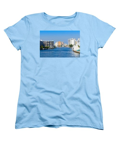 Intracoastal Waterway In Hollywood Florida Women's T-Shirt (Standard Cut) by Les Palenik