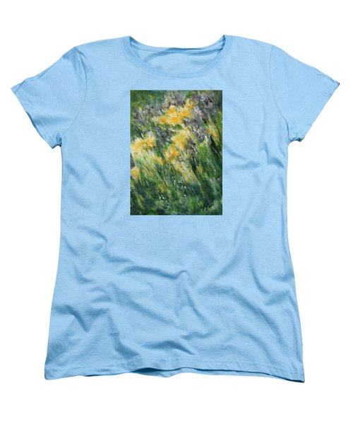 Women's T-Shirt (Standard Cut) featuring the painting Irises by Jane See