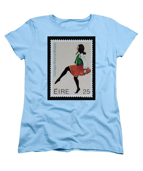 Irish Music And Dance Postage Stamp Print Women's T-Shirt (Standard Cut) by Andy Prendy