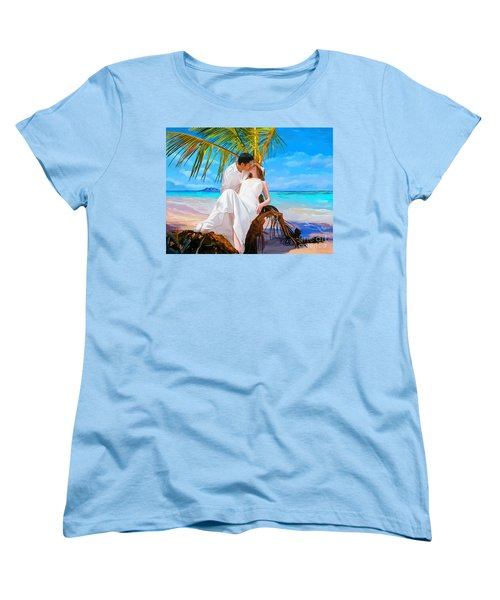 Women's T-Shirt (Standard Cut) featuring the painting Island Honeymoon by Tim Gilliland