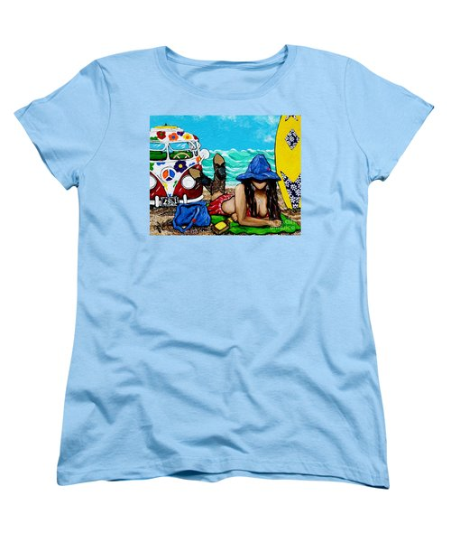 Women's T-Shirt (Standard Cut) featuring the painting J. C. Beaching It In 1961 by Jackie Carpenter